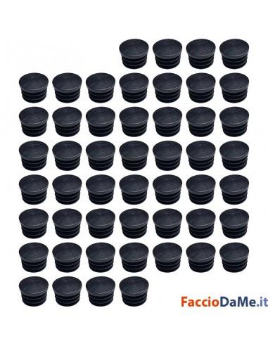 Puntale Puntali Tappi Tondi Alettati in Polietilene Nero Confezione da 50 pezzi