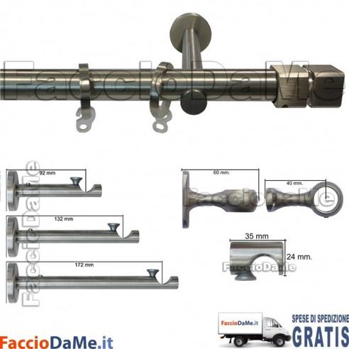 Bastoni per Tende in Acciaio Inox Aisi 304 Satinato D.20mm Completo Mod.AI20A - SPEDIZIONE GRATUITA