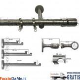 Bastoni per Tende in Acciaio Inox Aisi 304 Satinato D.20mm Completo Mod.AI20B - SPEDIZIONE GRATUITA