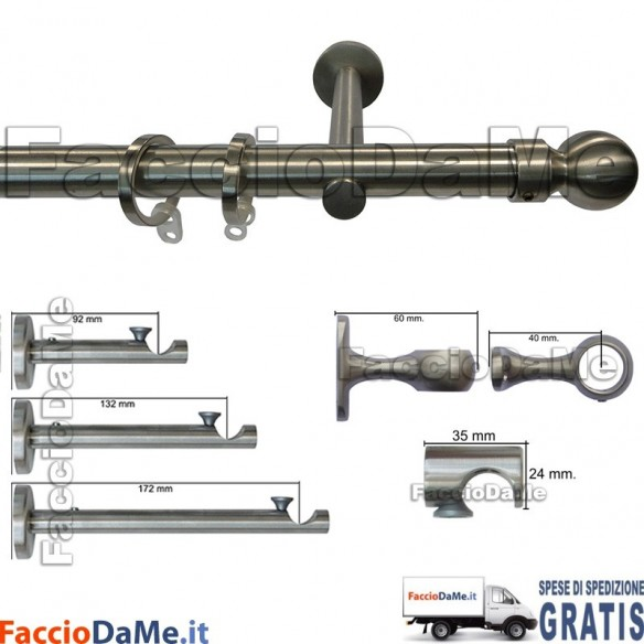 Bastoni per Tende in Acciaio Inox Aisi 304 Satinato D.20mm Completo Mod.AI20C - SPEDIZIONE GRATUITA
