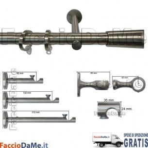 Bastoni per Tende in Acciaio Inox Aisi 304 Satinato D.20mm Completo Mod.AI20D - SPEDIZIONE GRATUITA