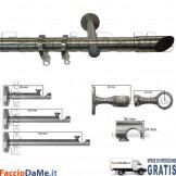Bastoni per Tende in Acciaio Inox Aisi 304 Satinato D.20mm Completo Mod.AI20E - SPEDIZIONE GRATUITA