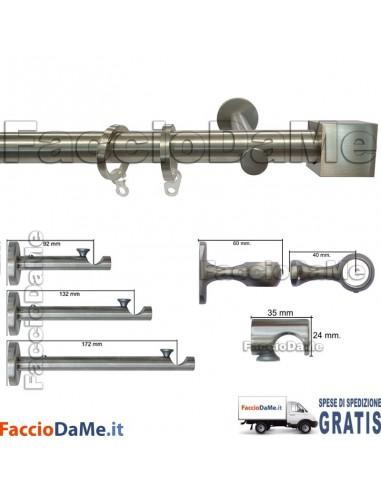 Bastoni per Tende in Acciaio Inox Aisi 304 Satinato D.20mm Completo Mod.AI20G - SPEDIZIONE GRATUITA