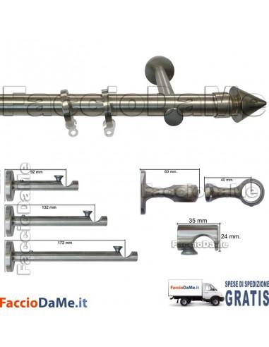 Bastoni per Tende in Acciaio Inox Aisi 304 Satinato D.20mm Completo Mod.AI20H - SPEDIZIONE GRATUITA