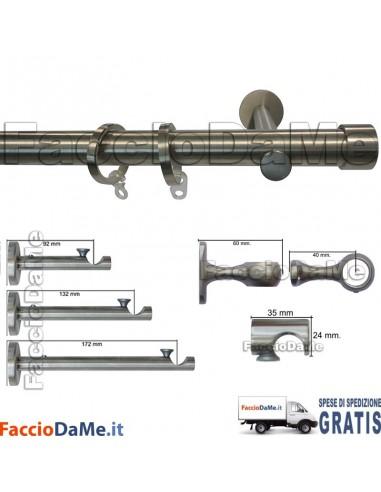 Bastoni per Tende in Acciaio Inox Aisi 304 Satinato D.20mm Completo Mod.AI20I - SPEDIZIONE GRATUITA