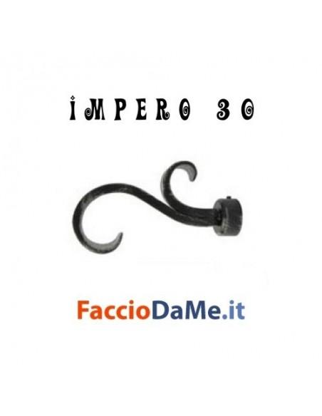 Terminale RICCIOLO in Ferro Nero Argento per Bastone Tende D.30mm IMPERO Italy