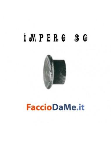Terminale TAPPO CON BORDO in Ferro Nero Argento per Bastone Tende D.30mm IMPERO