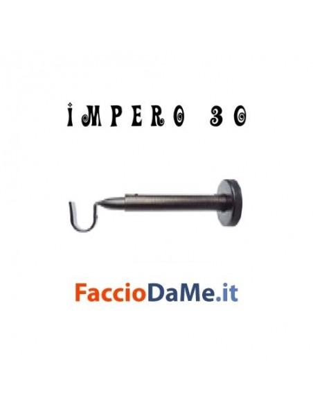 Supporto a Parete in Ferro Nero Argento per Bastone Tende D.30mm IMPERO Italy