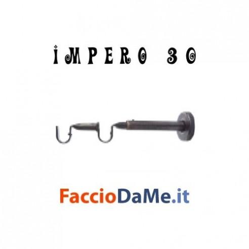 Supporto DOPPIO a Parete in Ferro Nero Argento per Bastone Tende D.30mm IMPERO Italy