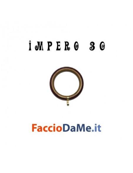 Anelli in Ottone Verniciato Nero Argento con Guaina per Bastone Tende D.30mm IMPERO Italy