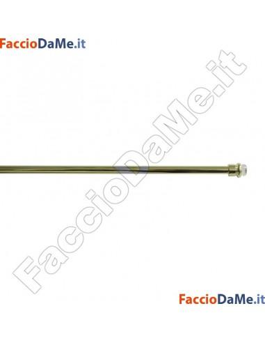 Bastone per tenda a MOLLA TONDO Diametro 7mm FINITURA OTTONE LUCIDO VERNICIATO Varie Misure