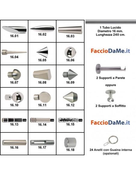 Bastoni per Tende in Acciaio Lucido Cromato Componibili Diametro 16mm Lunghezza 240cm