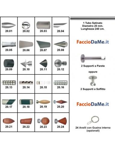 Bastoni per Tende in Acciaio SATINATO NICHEL Componibili Diam.20mm Lung.240cm