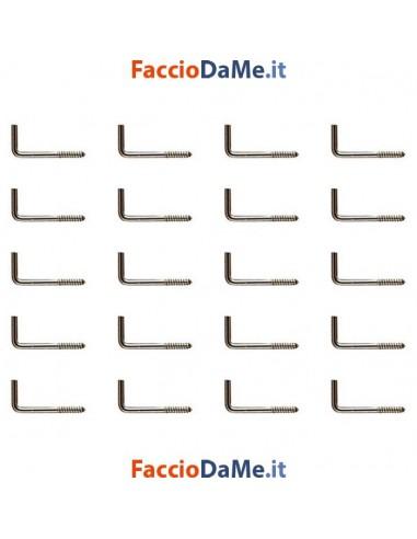 Ganci a L Cancanetti a Vite Supporti per Bacchette Bastoni Tende in Ferro Ottonato mm.2,5 20pz