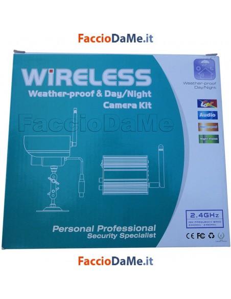 Kit Videocamera Wireless Telecamera Waterproof Ricevitore 4 Canali Accessori