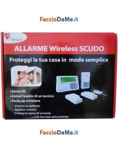 Kit Allarme Wireless Scudo Bravo Senza Fili con Centralina Sensori Telecomando