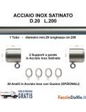 Bastone per Tende D20 L200 Kit Completo in Acciaio Inox Satinato da Muro a Muro - SPEDIZIONE GRATUITA