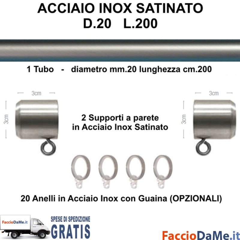 Bastone Per Tende Da Sole.Bastone Per Tende D20 L200 Kit Completo In Acciaio Inox Satinato Da