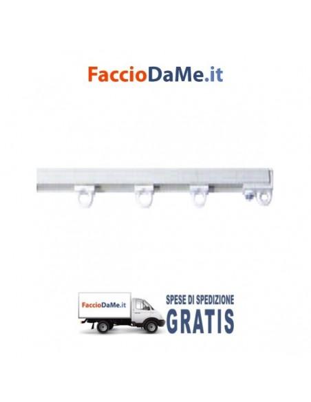 Binario Per Tende in PVC Bianco Applicazione a Soffitto Completo di Accessori - SPEDIZIONE GRATUITA