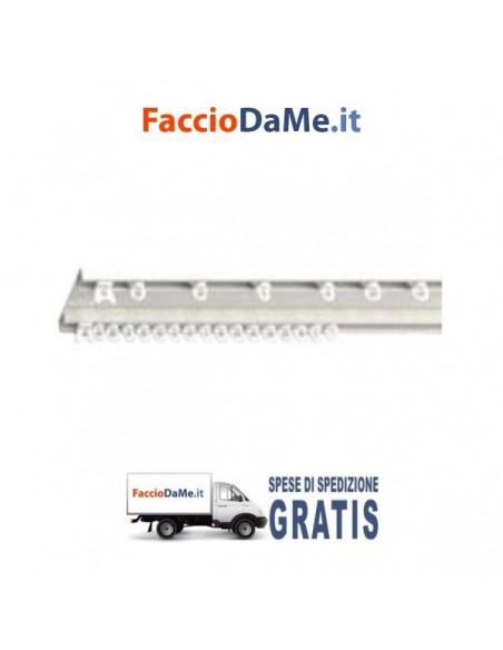 Binario per Doppia Tenda a Strappo in Alluminio Bianco Applicazione a Soffitto - SPEDIZIONE GRATUITA