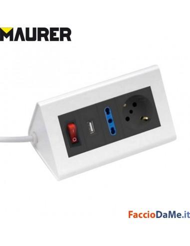 Multipresa da Tavolo Maurer 4 Uscite 1 Schuko Tedesca + Spina 2P+T + Porta USB