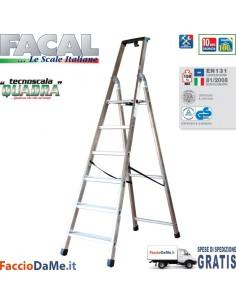 Scala in Alluminio Facal Quadra Q50 a Scelta 3 4 5 6 7 8 Gradini - SPEDIZIONE GRATUITA